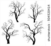 set of trees silhouettes... | Shutterstock .eps vector #504520414