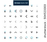 blue and gray arrow icon set