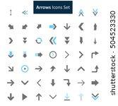 blue and gray arrow icon set
