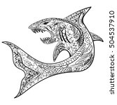hand drawn shark with ethnic... | Shutterstock .eps vector #504537910