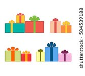 christmas gifts ribbons icons... | Shutterstock .eps vector #504539188