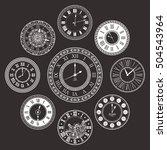 vector vintage clock dials set. ...   Shutterstock .eps vector #504543964