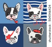 french bulldog. vector set of... | Shutterstock .eps vector #504546424