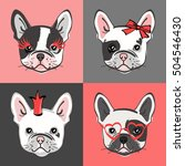 french bulldog. vector set of... | Shutterstock .eps vector #504546430