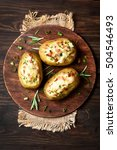 baked stuffed potatoes with... | Shutterstock . vector #504546493