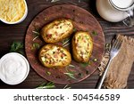 baked stuffed potatoes with... | Shutterstock . vector #504546589