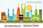 Saudi Arabia Skyline with Color Landmarks and Blue Sky. Vector Illustration. Business Travel and Tourism Concept. Image for Presentation Banner Placard and Web Site.