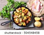 roasted potato in frying pan ...   Shutterstock . vector #504548458