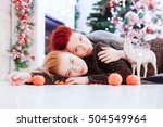 two girls lay on the wooden... | Shutterstock . vector #504549964