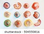 color pencils shavings on white | Shutterstock . vector #504550816