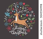 christmas card  christmas deer | Shutterstock .eps vector #504554998