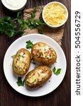 homemade potato skins with... | Shutterstock . vector #504556729