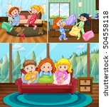 girls at slumber party in the... | Shutterstock .eps vector #504558118