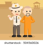 sheriff officer arrest escaped... | Shutterstock . vector #504560026