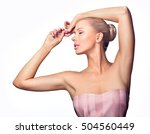 beautiful young woman holding... | Shutterstock . vector #504560449