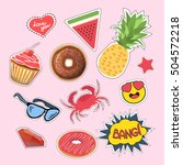 stickers and patches set.... | Shutterstock .eps vector #504572218