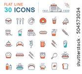 set  line icons in flat design... | Shutterstock . vector #504573034