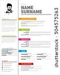 resume minimalist cv  resume... | Shutterstock .eps vector #504575263