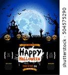 happy halloween poster ... | Shutterstock .eps vector #504575290