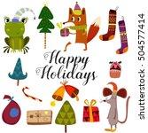 Winter Set Happy Holidays Card...