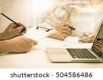 businessman and businesswoman... | Shutterstock . vector #504586486
