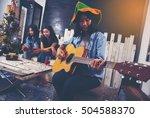 group of friends drinking... | Shutterstock . vector #504588370