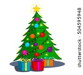 christmas tree with gifts... | Shutterstock .eps vector #504595948
