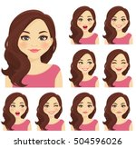 beautiful woman with different... | Shutterstock .eps vector #504596026