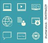 set of advertising icons on... | Shutterstock .eps vector #504596029