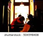 cafe window. backlighting. blur ... | Shutterstock . vector #504598408
