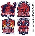 mma fighter badge set | Shutterstock .eps vector #504605650