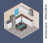 vector isometric house room ... | Shutterstock .eps vector #504615814