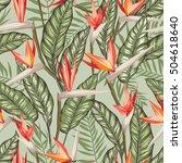 vector seamless tropical bird...