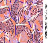 vector seamless tropical bird... | Shutterstock .eps vector #504618700