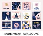 set of artistic creative merry... | Shutterstock .eps vector #504622996