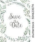 wedding invitation  floral...   Shutterstock . vector #504623074