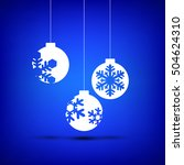 christmas ball white on blue... | Shutterstock .eps vector #504624310