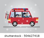 family winter traveling. travel ... | Shutterstock .eps vector #504627418