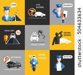 road police flat backgroud... | Shutterstock .eps vector #504633634