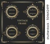 vintage round gold floral frame ... | Shutterstock .eps vector #504642499