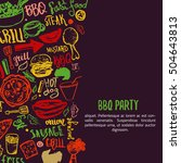 bbq opening party announcement. ... | Shutterstock .eps vector #504643813
