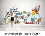 rear view of woman drawing and... | Shutterstock . vector #504644254