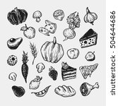 food  fruits and vegetables.... | Shutterstock .eps vector #504644686
