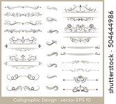 set of calligraphic vintage... | Shutterstock .eps vector #504644986
