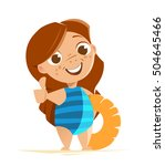 cute girl with swimsuit...   Shutterstock .eps vector #504645466