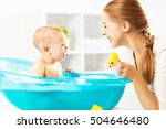 happy family mother bathes the... | Shutterstock . vector #504646480