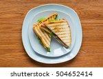 top view of healthy sandwich...   Shutterstock . vector #504652414
