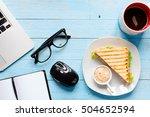 top view of healthy sandwich... | Shutterstock . vector #504652594