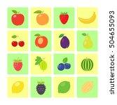 flat style fruit icon set for...