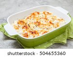 white fish casserole with... | Shutterstock . vector #504655360